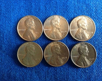1974 P and D Vintage Lincoln Pennies for Coin Collecting, US Old Coins About Uncirculated Penny, Lot of 6