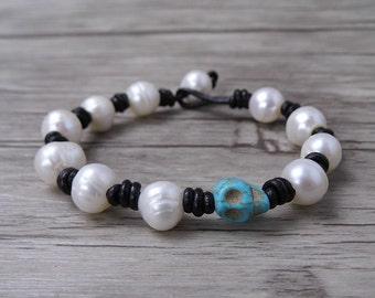 Skull bracelet White pearl Bracelet Boho wrap bracelet Pearl wrap bracelet turquoise Skull bead bracelet boho pearl Bracelet jewelry SL-0507
