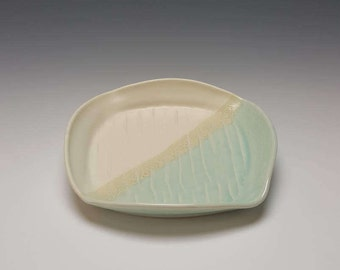Handmade ceramic plate by Potteryi. Square serving plate in cream and celadon.
