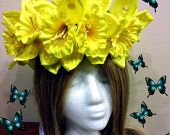 Daffodil Crown, Yellow Flower, Floral Headband, Spring Accessory, Easter Outfit, Adult Or Child, Springtime Clothes, Wedding Headpiece