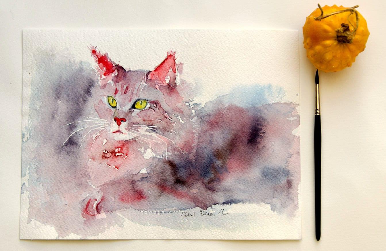 Aquarelle originale de chat maine coon peinture originale de for Idee peinture originale