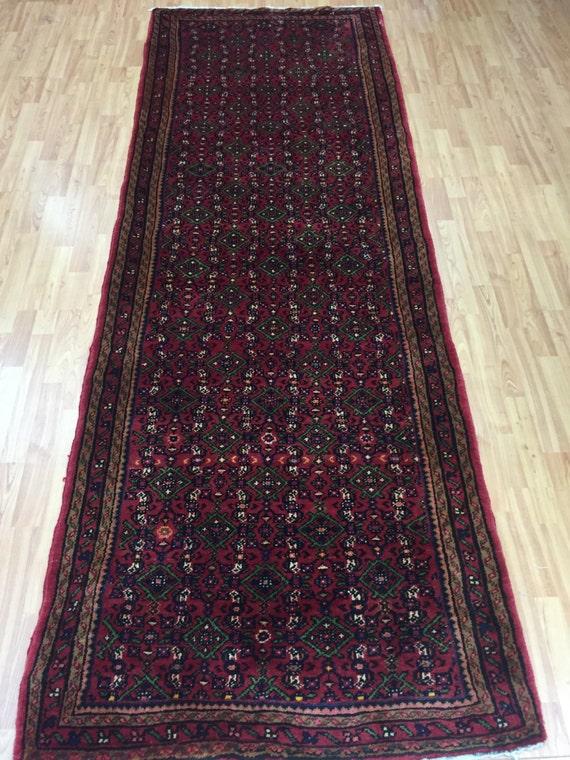 "3'5"" x 9'9"" Antique Persian Angeles Floor Runner Oriental Rug - 1920s - Hand Made - 100% Wool - Vintage"