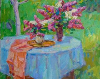 IMPRESSIONIST STILL LIFE Original Oil Painting by Pereta V.,Signed, Lilac, Garden Landscape Ukrainian Original fine art, Flowers painting
