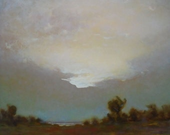 EVENING OIL LANDSCAPE Original Oil Painting by Ukrainian artist Reshetov R., Signed, Sky Clouds painting, Handmade Artwork, One of a Kind