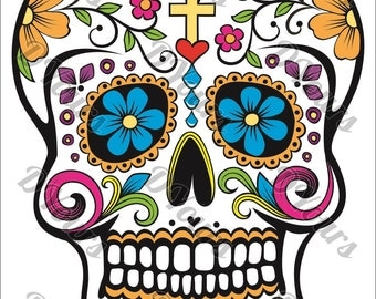 Sugar Skull Fully Coloured Mexican Day of the Dead Skull Vector Model - svg cdr ai pdf dxf files Download Files for Laser Cutting Printing