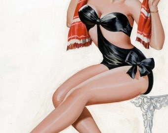 pin-up girl pulp art print Silk Stockings and High Heels Wink magazine cover illo