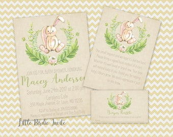 Elegant Bunny Baby Shower Invitation | Vintage Rabbit Baby Shower Invitation |  Easter Baby Shower Invitation |
