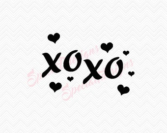 XOXO hugs and kisses with hearts Design - Digital File - Cut File- SVG - Cricuit - Silhouette- Instant Download - Vinyl - Valentines Day