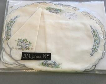 B. M. Jabara and Sons Linens-NOS Set of 4 Placemats & 4 Napkins