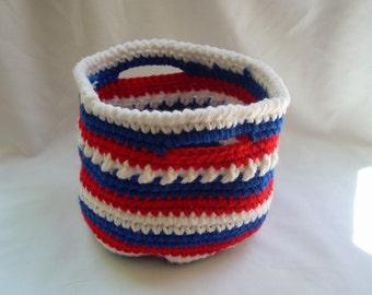 USA Crochet Basket, Small Striped Basket, Desk Organizer, Catch All, Craft Supply Bin, Patriotic Coffee Table Decor, Tricolor Striped Basket