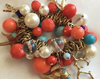 Vintage Shades of Orange and Blue Bead Stretch Cha Cha Bracelet