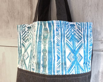 Blue Patterned Tote Bag, unique oversized style with abstract Aztec design in turquoise. Ideal gift for girlfriend, wife, sister, new mum UK
