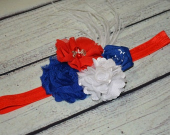 Patriotic Baby Headband ,4th of July Baby Headband,July 4th Headband,Patriotic Headband ,Red White Royal Blue Headband ,Baby Headband
