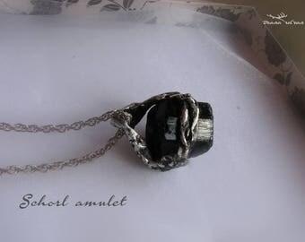 Natural schorl amulet, black tourmaline amulet, black tourmaline crystal amulet, amulet for protection