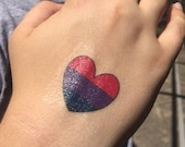Bisexual Heart Temporary Tattoo