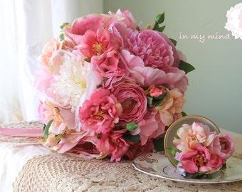 Bridal bouquet , Wedding bouquet , Silk bouquet , Garden bouquet , Elegant bouquet , Peony ,Bouquet with Groom's Boutonniere No39_005P