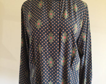 Vintage 1980s Forest Green and Rust Diamond Print Blouse with Ornate Neck