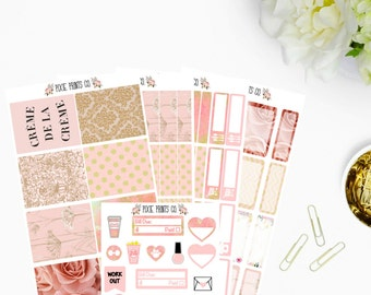 Blush Creme De La Creme Sticker Kit, Planner Stickers,  for use with Erin Condren Planner, Mambi, Happy Planner, Stickers