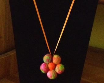 Bright Multi-Coloured And Orange Wool Blend Felt Beads On Orange Ribbon Necklace  There Are Matching Earrings.