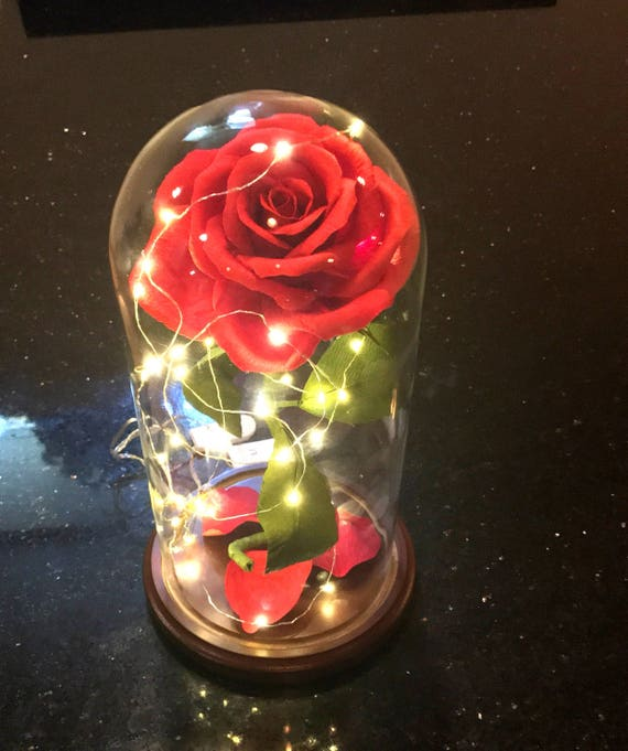 """Beauty and the Beast Rose, Bella Rose, *Jul/Aug only* , Handmade Crepe Paper, XL Glass Dome Display, Paper Flower, 5.5"""" x 11"""", Disney Movie"""