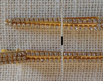 Gold Jeweled Hair Clips