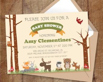 Woodland Baby Shower Invitation, Printable Woodland Invite, Forest Animal Baby Shower Invite, Gender Neutral Invitation, Fox, Moose, Rabbit