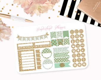 Mint & Gold Glitter Planner Stickers // Icons, Banners + Flags // Perfect for Erin Condren Vertical Life Planner