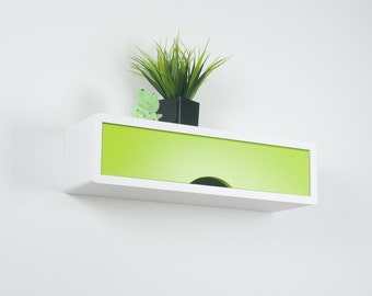 White Floating Contemporary Slim Wall Shelf, Wall Cabinet with Colorful Door