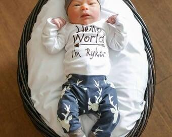Personalized Baby Boy, Going Home, Hello World, Deer Outfit, onesie, hat, pants, navy deer, shower gift, custom onesie, preemie