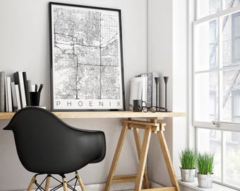 Map of Phoenix, Arizona - Phoenix Decor - Map ART - Phoenix Poster  - Office Decor - Scandinavian Art - Phoenix Travel Poster - IKEA Poster