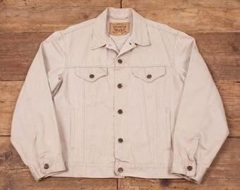 """Mens Vintage Levis White Tab Denim Trucker Jacket Stone Beige M 42"""" R5471"""