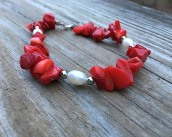 Vintage Red Coral and Freshwater Pearl Bracelet
