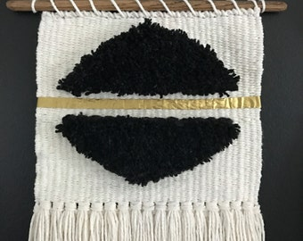 Black and White Handmade Woven Wall Hanging || Woven Tapestry