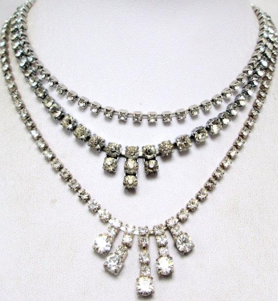 Three lovely vintage silver metal & rhinestone diamante necklaces