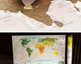 Unique Wedding Gift for Couple – Scratchable Off Travel Map by TheMapLab
