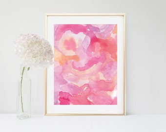 Watercolor Print, Pink Abstract Art, Abstract Art Print, Pink Abstract Painting,  Printable Art, Modern Art, Instant Download ,Wall Decor