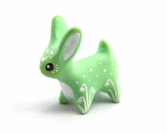 Green hare figure rabbit figurine animal totem figure fantasy creature velvet clay polymer clay figure clay miniature Easter gift for her