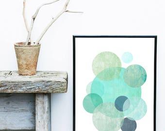 Minimalist Art Print, Geometric Wall Art, Circles Print, Blue Abstract Art,  Scandinavian Print, Giclee print,  Wall Decor