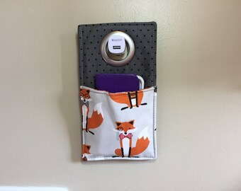Phone Charging Pouch, Cell Phone Holder, Smart Phone Outlet Pouch, Docking Station, Charging Station, Foxes, Gifts under 15