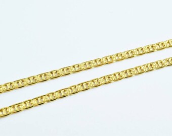 "Gold Filled Diamond Cut Anchor Chain 18KT Gold Filled Size 17"" Long 3mm Width 1mm Thickness Item #CG30"