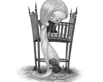 "8X10"" Baby Rapunzel,  Black and whit Print, Signed by the artist, Will Terry"