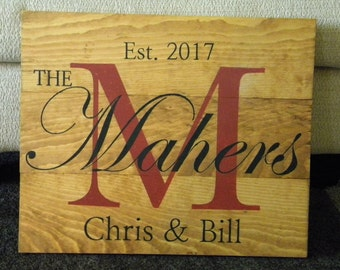 Wooden Sign | Personalized Custom Family Name Sign Monogram | Wedding Gift| Gift Idea | Distressed Wood Decor | Denney Studio | Personalized