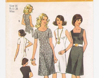 "Vintage Simplicity women's pattern #9985, ""Misses' Dress With Three Necklines"", size 16, bust 38"", waist 30"", hips 40"", from 1972."