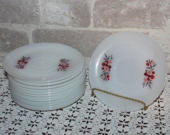 14 Milk glass Fire King Primrose  saucers for your wedding, shower or special event, bridesmaid or bachelorette gifts, cake dishes