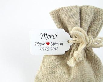 10 labels 2.4 x 4 cm, average size, customized for your wedding or baptism dragees