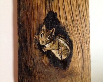 Hand-painted Chipmunk on Reclaimed Fence Board