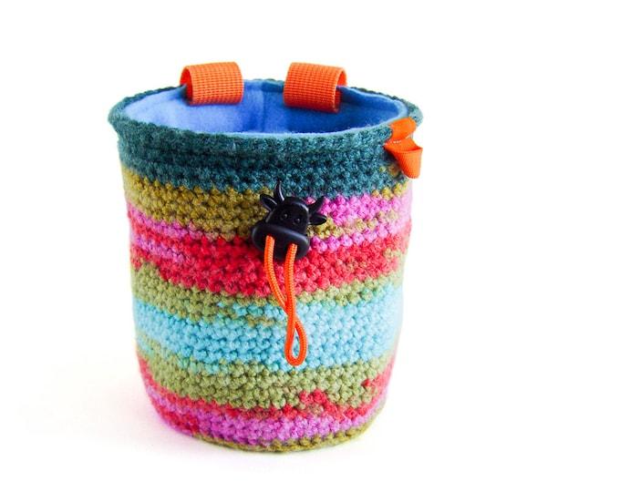 Crochet Rock Climbing Chalk Bag, Chalkbag Climbing, Knit Chalk Bag, M Size
