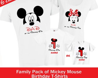 Personalized Mickey Mouse 1st 2nd 3rd Birthday Family Set. DAD MOM and Birthday Boy or Girl T shirts - Any Age Top Tee Tshirt Blouse Apparel