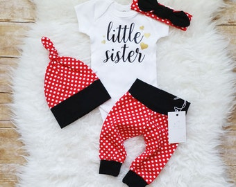 Little Sister Outfit Newborn Baby Girl Outfit  Photo Prop  Coming Home Outfit Red Polka Dot Baby Girl Outfit Baby Shower Gift New Baby Gift