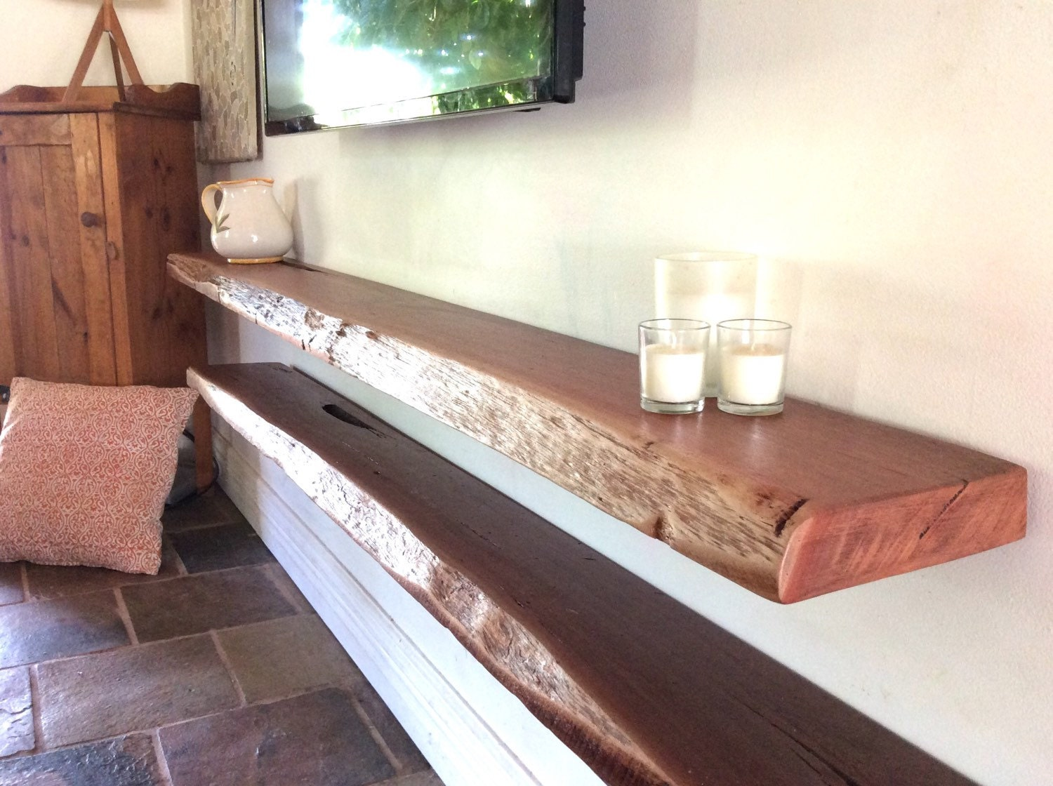 how to make solid timber floating shelves